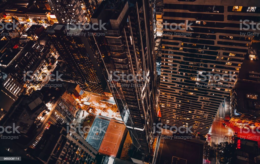 top view of melbourne cbd at night stock photo