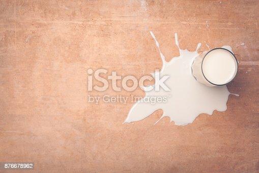istock top view of milk splash on wooden background; 876678962