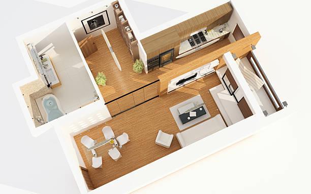 blick auf das moderne apartment. planung. architektur abstrakte. - einfache holzprojekte stock-fotos und bilder