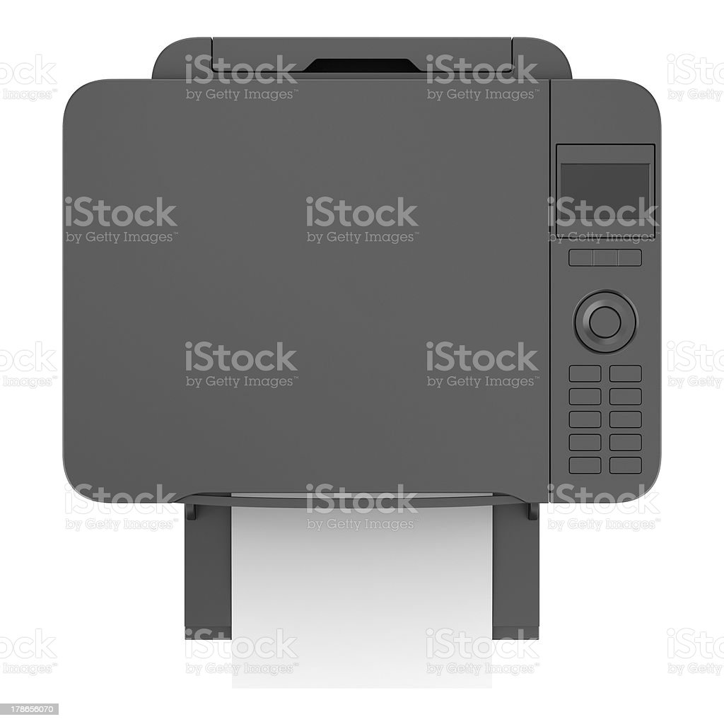 top view of modern black office multifunction printer isolated stock photo