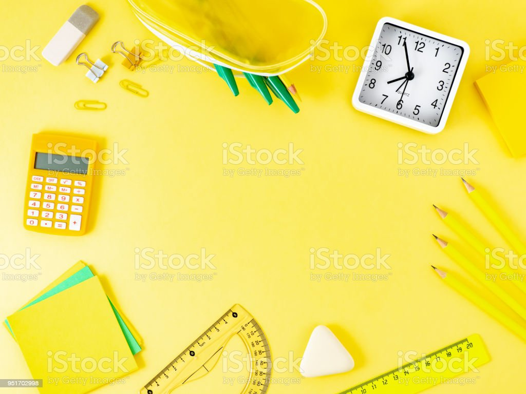 Top View Of Modern Bright Yellow Office Desktop With School Supplies On  Table, Empty Space