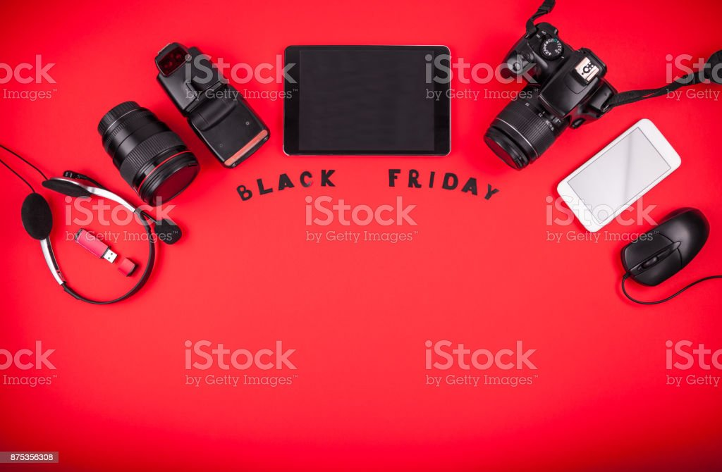 Top view of modern devices ready for sale on Black Friday stock photo