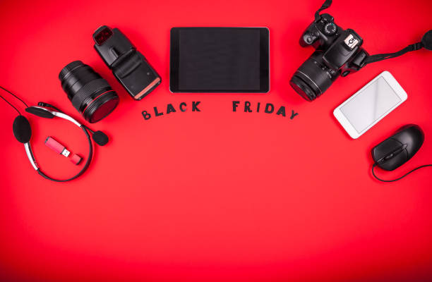 top view of modern devices ready for sale on black friday - sale lenses stock photos and pictures