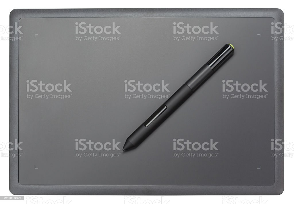 Top view of modern graphic tablet stock photo