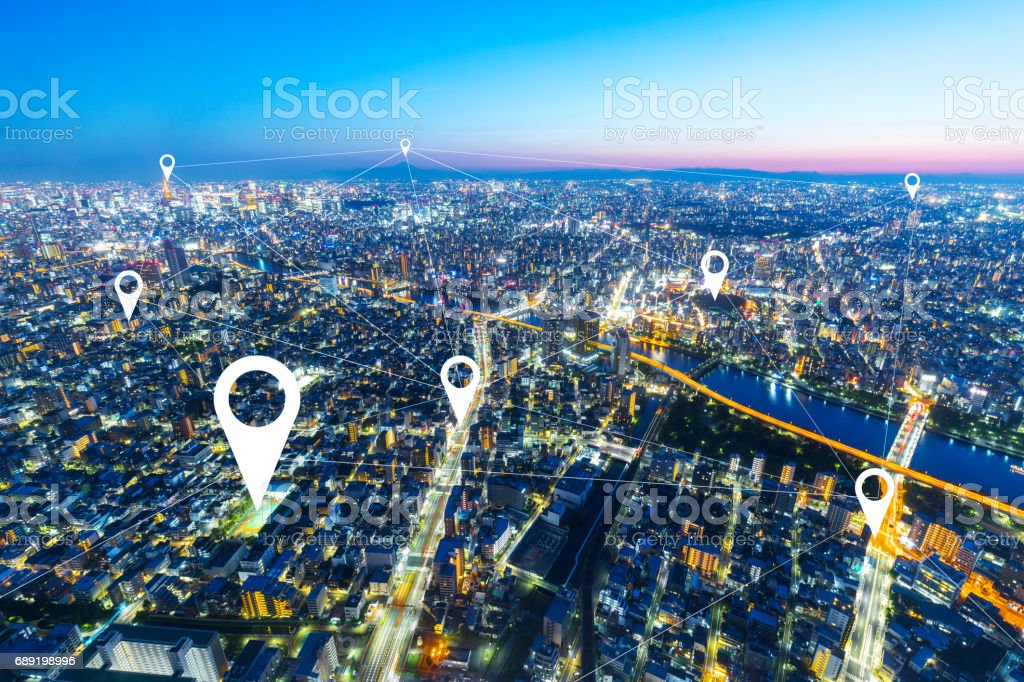 top view of modern intelligence city stock photo