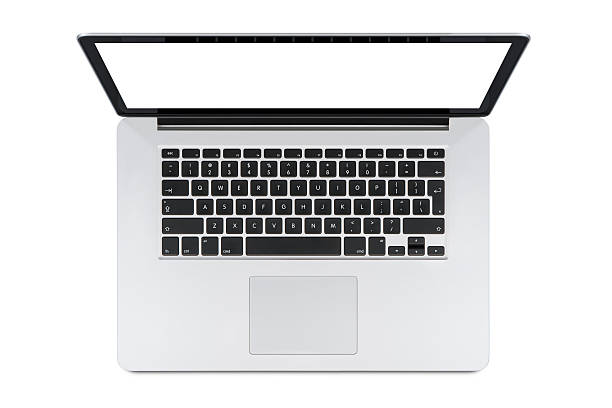 Top view of modern laptop with English keyboard stock photo