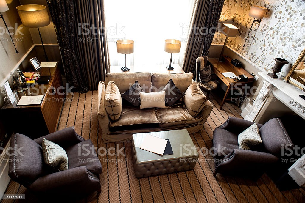Top view of modern living room interior stock photo