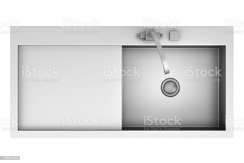 top view of modern metal sink isolated on white background stock photo