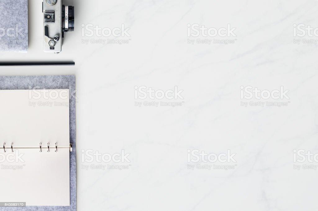 Draufsicht Der Modernen Buromarmordesktophintergrund Stock