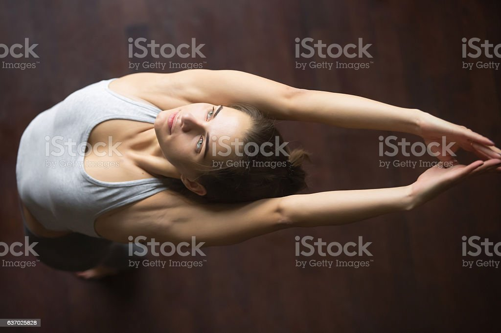 Top view of Mountain yoga pose variation stock photo