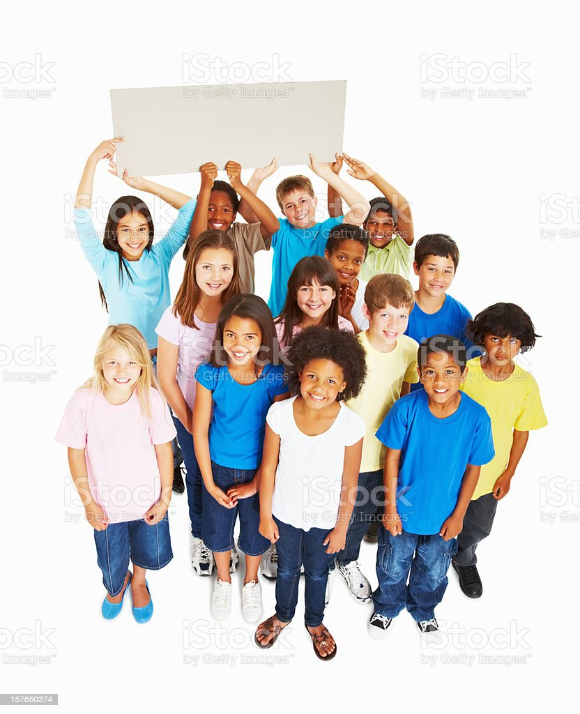 Top view of multi ethnic group holding billboard on white royalty-free stock photo