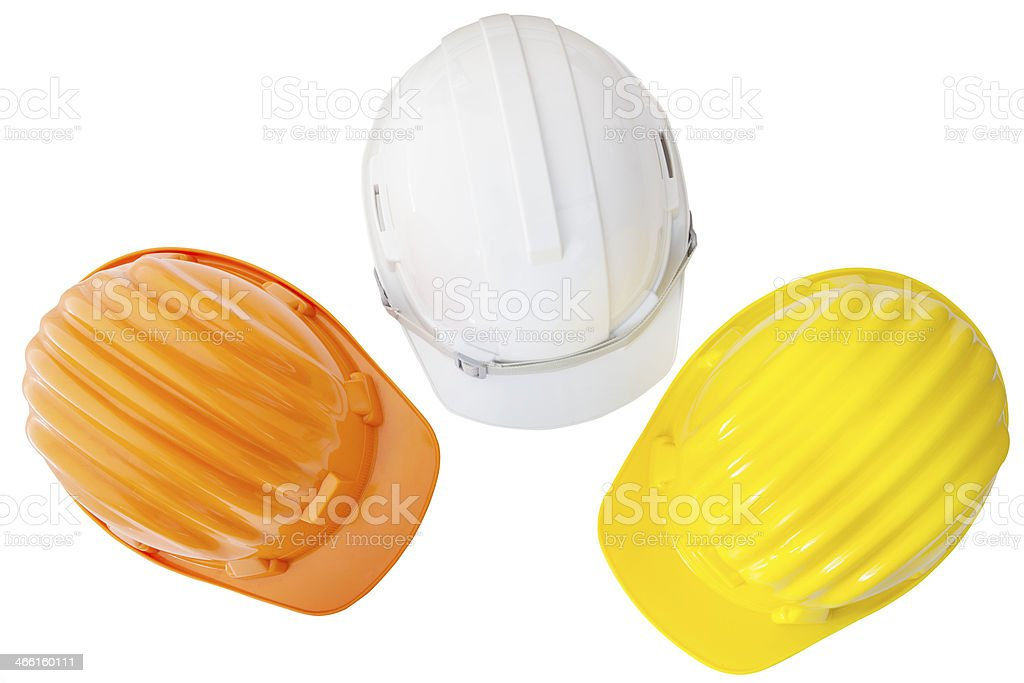 top view of multicolor safetyt,construction ,protection helmet stock photo