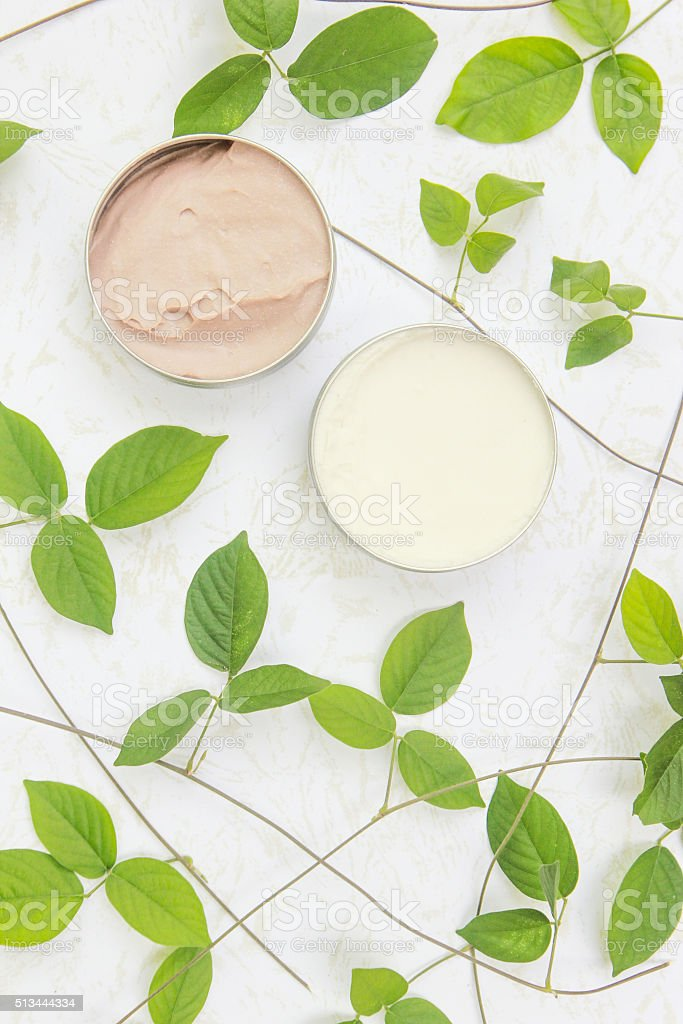 Top view of natural organic beauty cream stock photo