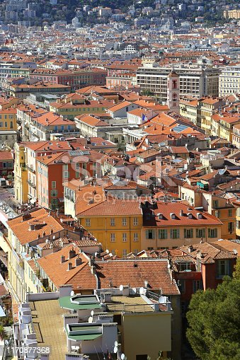 Top view of Nice, French Riviera, France