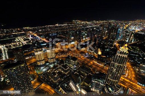 istock Top view of night Dubai 1078384392