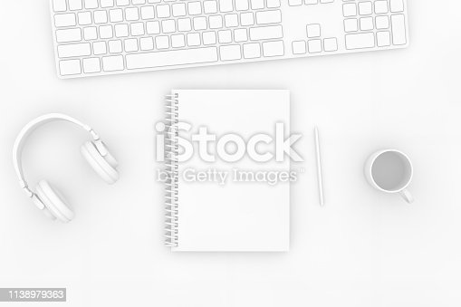 3d rendering of white color notebook with pencil and keyboard on white background. Office desktop, Workplace, Home Office.