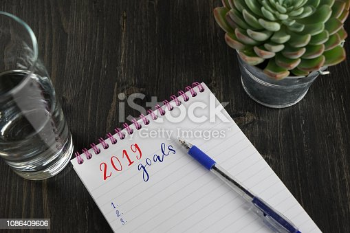 1057357020istockphoto Top view of notebook with text 2019 goals and to do list 1086409606