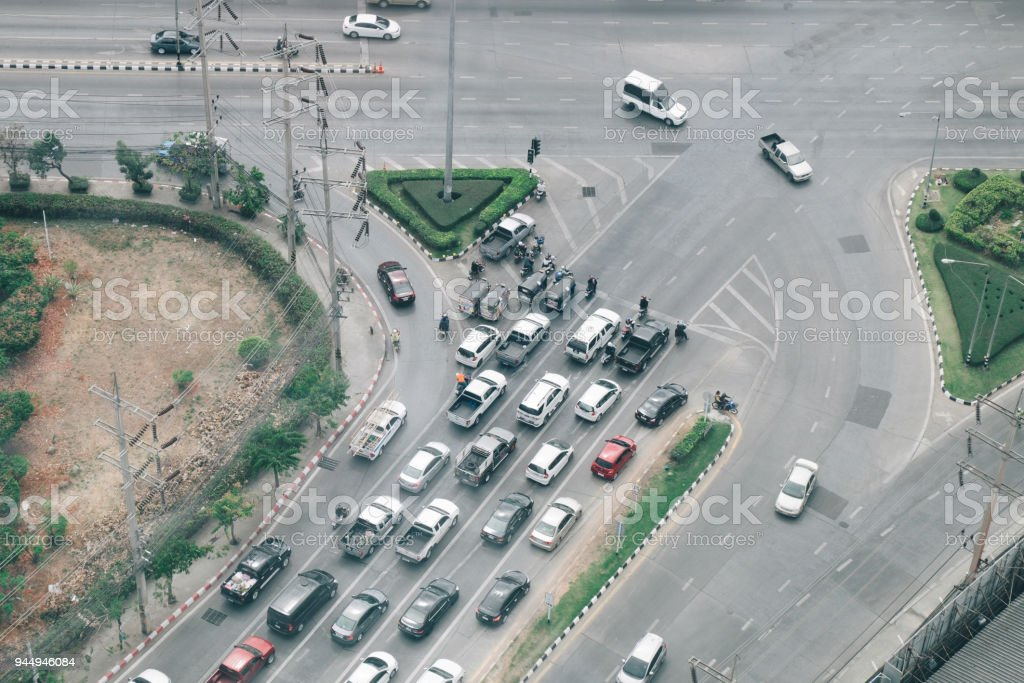 Top view of numerous cars in a traffic at Thailand. stock photo