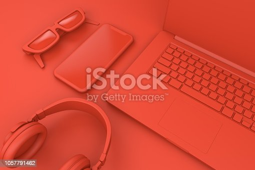 istock Top view of office desktop with Smart Phone and Laptop, Technology Concept. 1057791462