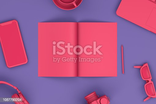istock Top view of office desktop with Smart Phone,Magazine and Laptop, Technology Concept. 1057790204