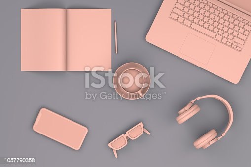 3D Rendering, Technology, Laptop, Notebook, Headphone, Sunglasses, Smart phone, magazine.