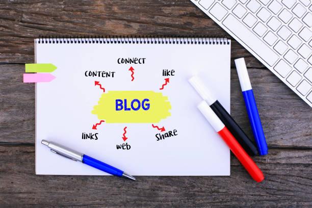 Draufsicht der Bürotisch über Blogging Konzept geschrieben. – Foto