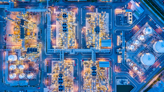 Top view of oil refinery