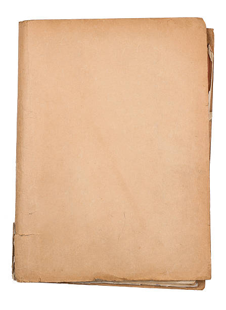 top view of old document folder on white stock photo