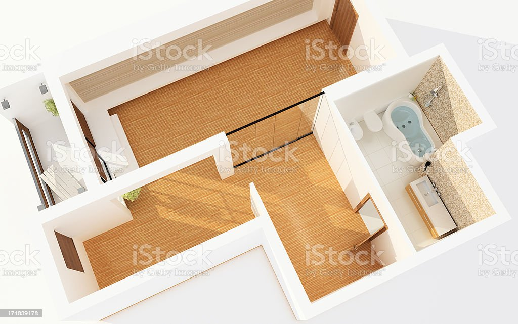 Top View of on Empty Modern Apartment. Planning. Architecture Abstract. stock photo