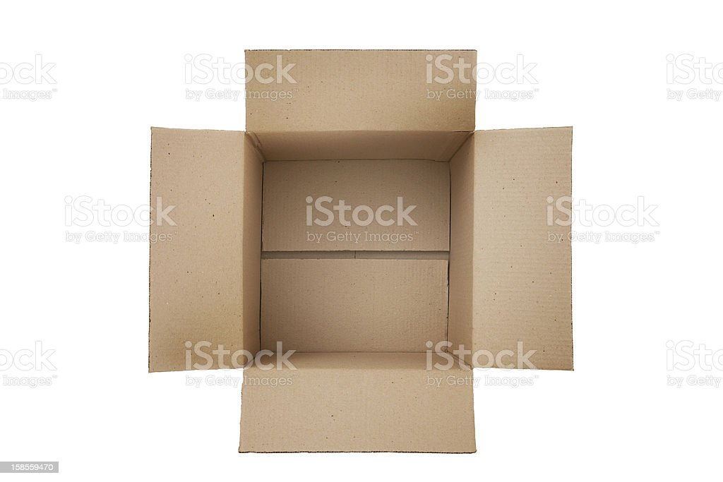 Top view of open and empty cardboard box stock photo