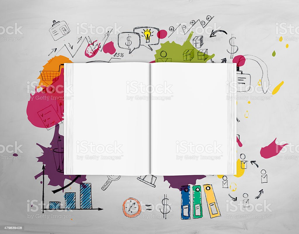Top view of open book with bright ideas stock photo