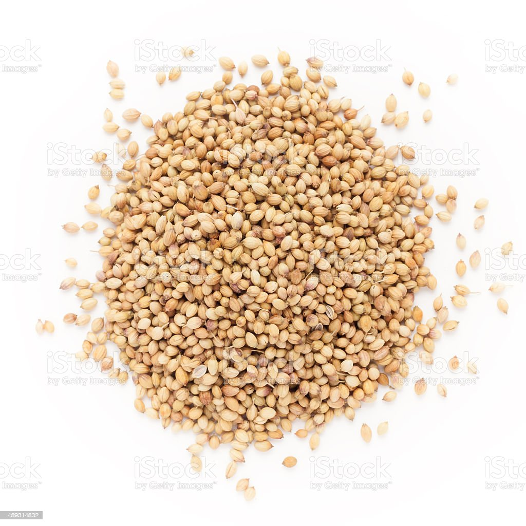 Top view of Organic Dried coriander seeds. stock photo