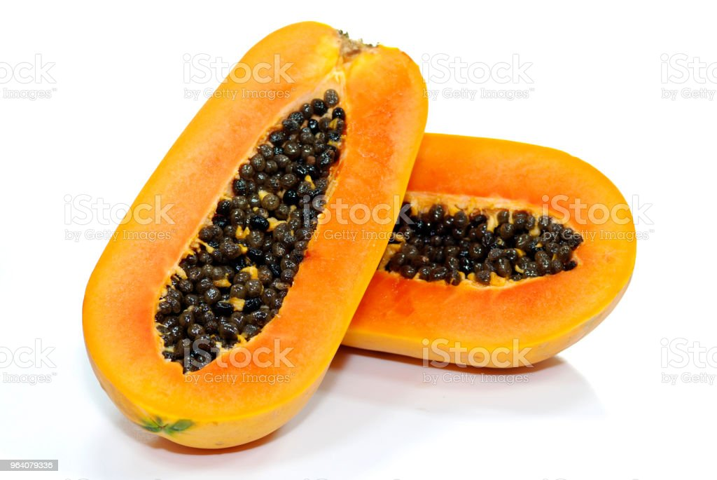 Top view of Papaya isolated on white background. - Royalty-free Appetizer Stock Photo