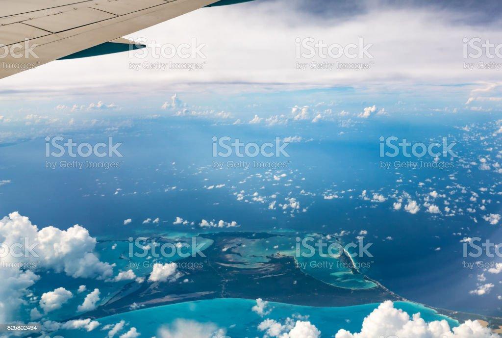 Top View of Paradise Beach, Bahamas stock photo