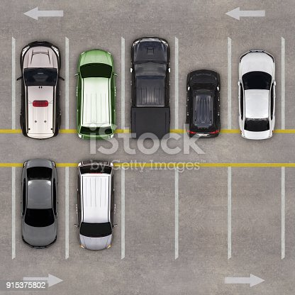 istock Top view of parking lot 915375802