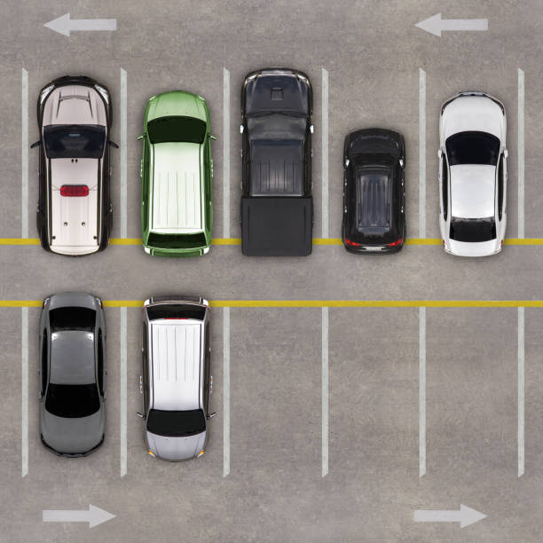 Top view of parking lot stock photo