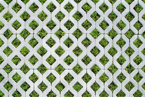 Top view of parking with a grass stock photo