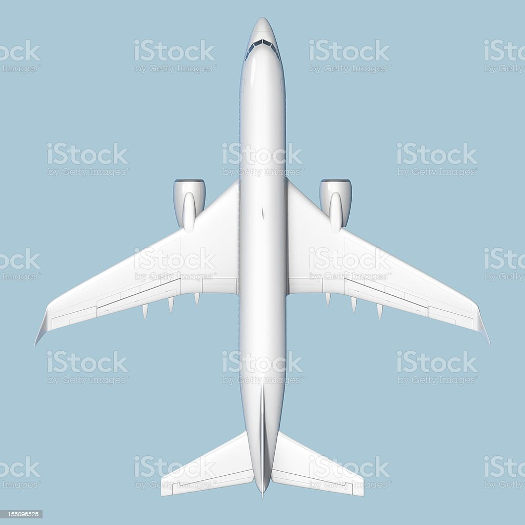 Top view of passenger airplane isolated on blue background stock photo
