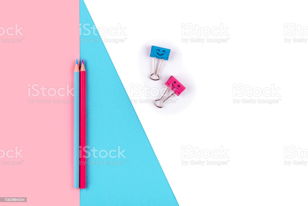 Top view of penson colorful background stock photo