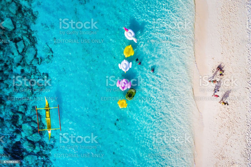 Top View of People Enjoying the Beach in Boracay Island, Philippines stock photo