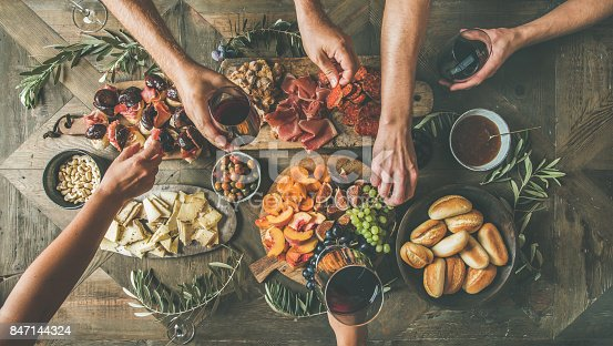 istock Top view of people having party, gathering, celebrating together 847144324