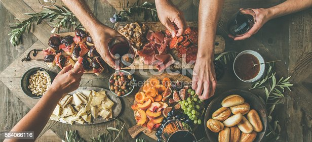 istock Top view of people having party, gathering, celebrating together 864066116