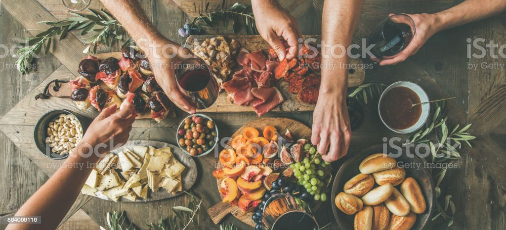 Top view of people having party, gathering, celebrating together stock photo