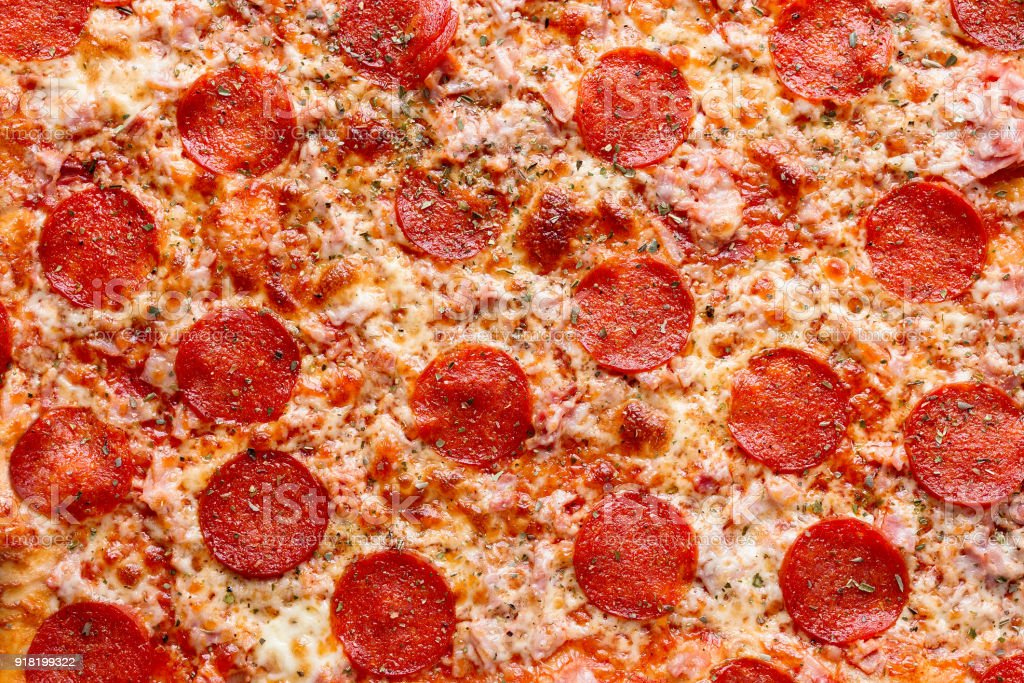 Top view of pepperoni pizza stock photo