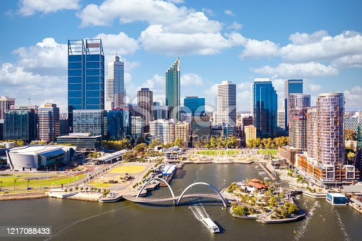 istock Top view of perth city and harbour from drone with blue sky 1217088433