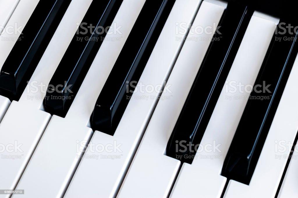Top view of piano keys. Close-up of piano keys. Close frontal view....