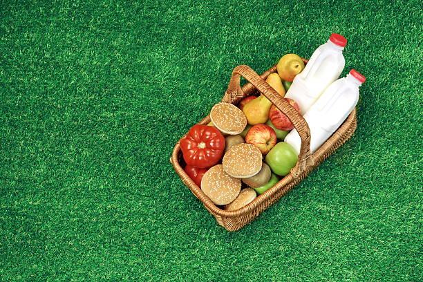 top view of picnic  basket  on the summer garden lawn - sprüche über reisen stock-fotos und bilder