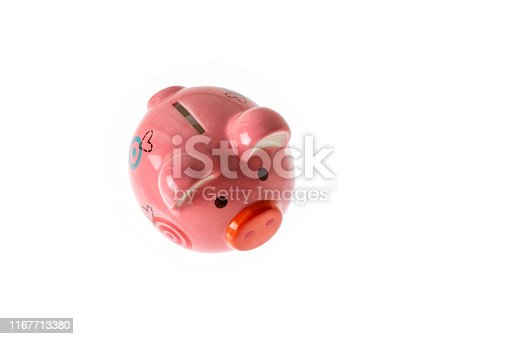 Top view of piggy bank isolated on white background