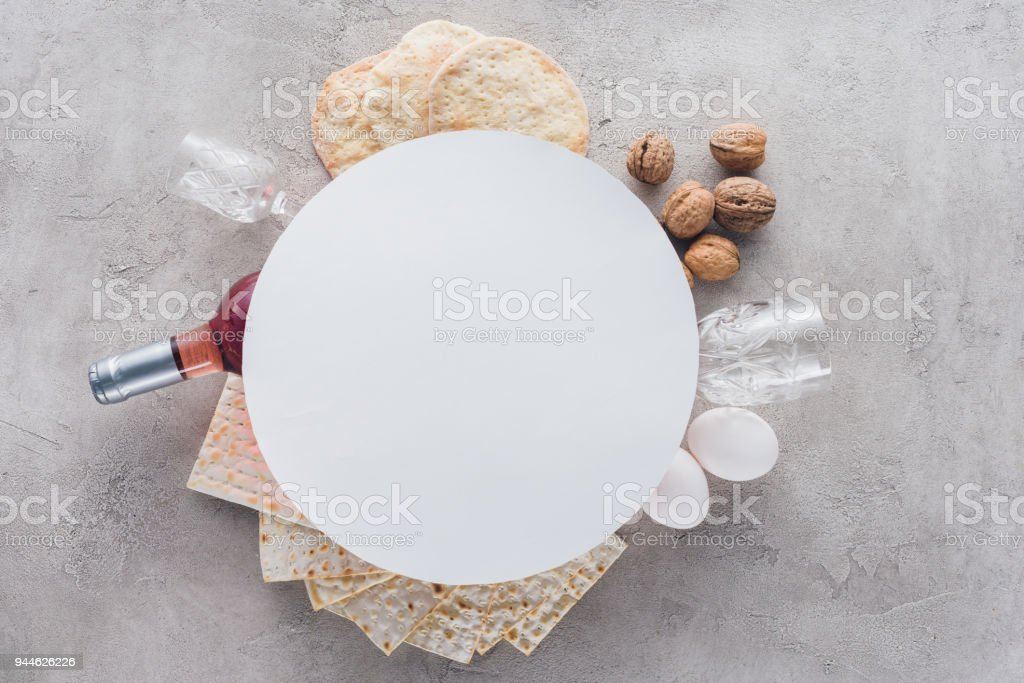 top view of plate on matza and wine, jewish Passover holiday concept stock photo
