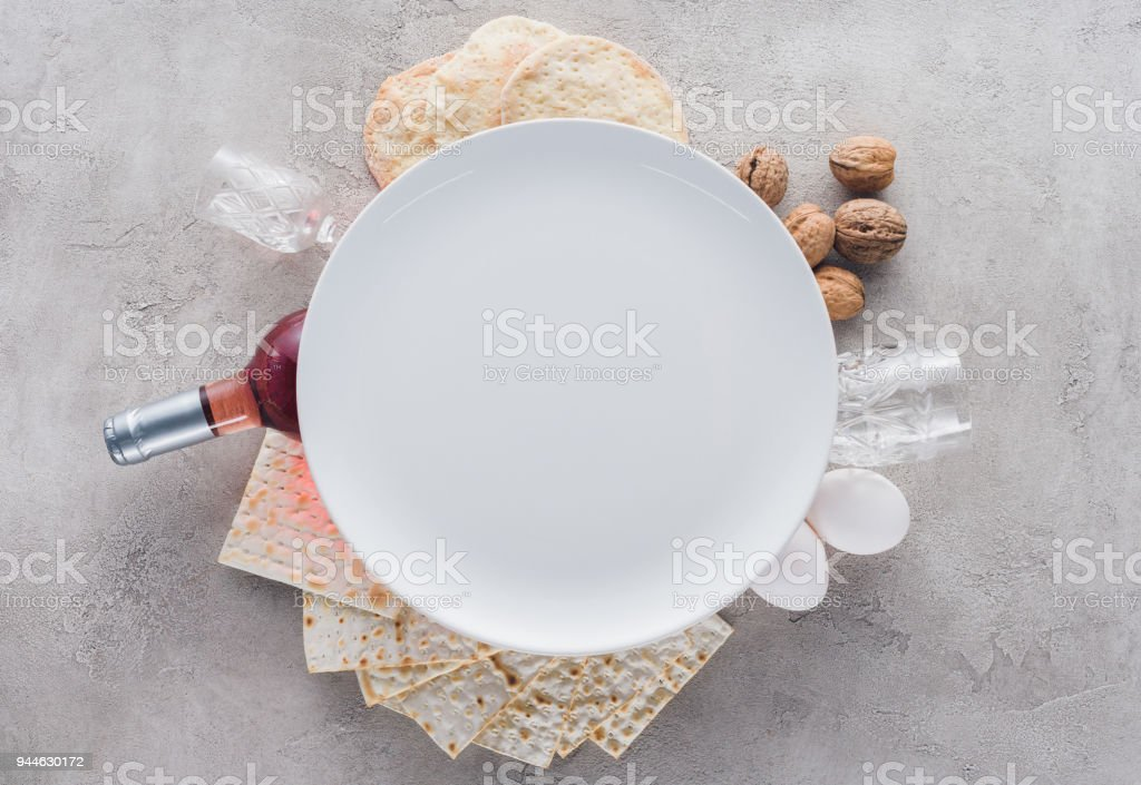 top view of plate on matza and wine, Pesah celebration concept stock photo